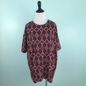 LuLaRoe XXS Irma Tunic Top Diamond Print Shirt
